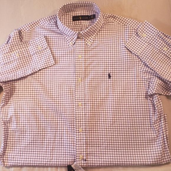 a4e095b8e Ralph Lauren Shirts | Nwt Purple White Button Down Top | Poshmark